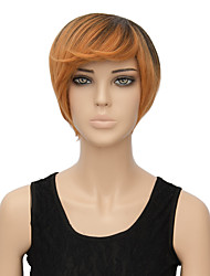 Fashion Short Wigs Heat Resistant 29cm Gradient Wig Cosplay Short Dark Brown Synthetic Wigs