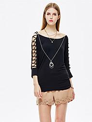 mulheres heartsoul de sair blusa simples verão, em torno do pescoço sólido ¾ rayon preto manga / spandex fina