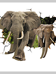 JAMMORY 3D Wallpaper Country Wall Covering Canvas Material Adhesive required Mural Room Wallcovering African Elephant