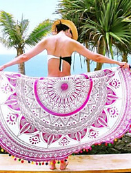 Women's Round Cover-Up,Tassels / Floral Cotton / Polyester White / Pink / Purple / Orange / Dark Blue