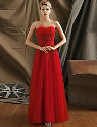 2017 de noite formal vestido de uma linha strapless do assoalho-comprimento de tule com apliques / beading