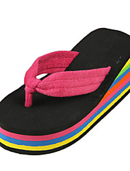 Women's Slippers & Flip-Flops Summer Flip Flops Polyester Casual Wedge Heel Others Black and Red / Fuchsia