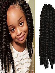 "Brownish Black Ombre Blue 12"" Kid's Kanekalon Synthetic 2X Havana Mambo Twist 100g Hair Braids with Free Crochet Hook"