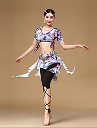 Belly Dance Outfits Women's Training Rayon Pattern/Print 2 Pieces Purple / Yellow Short Sleeve Dropped Top / Skirt