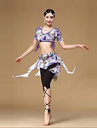 Dança do Ventre Roupa Mulheres Treino Raiom Padrão/Estampado 2 Peças Manga Curta Caído Saia / Toptop:M/L: 30cm skirt:M/L front:30cm