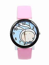 Women's Leather Strap Digital Pointer Minimalist Leisure  Cartoon Bunny Ribbon Print Student Watches