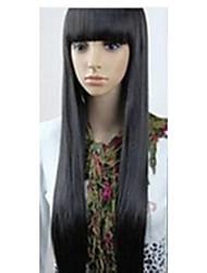 Mode-Kunsthaarperücke super langen geraden schwarzen 1b Farbe Frau