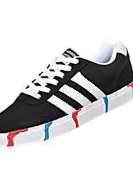sapatos masculinos pu sapatilhas da forma ocasional quadra coberta calcanhar plana outros / lace-up preto / azul / cinza
