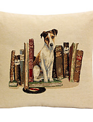 Linen Pillow Cover/Case ,  Woven Traditional/Classic Dog and Books A Feature