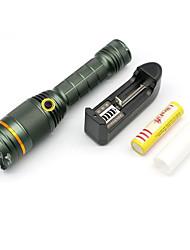 Ultrafire® Lanternas LED LED 900-2000 Lumens 3 Modo Cree XM-L T6 18650.0Foco Ajustável / Prova-de-Água / Recarregável / Resistente ao