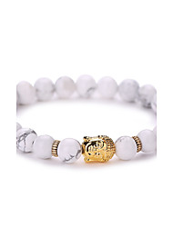 Women Men Fashion Bracelet Pulseras Mujer White Natural Stone Buddha Beads Bracelet  #YMGS1006