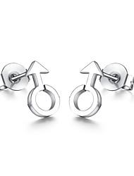 Man Symbol Silver Stainless Steel Stud Earrings
