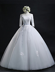 Ball Gown Wedding Dress Floor-length Bateau Lace / Tulle with Appliques / Sash / Ribbon