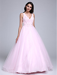 Dress Ball Gown V-neck Floor-length Tulle with Beading / Flower(s)