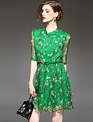 Women's Casual/Daily Street chic Sheath Dress,Floral Stand Above Knee ½ Length Sleeve Green Rayon Fall