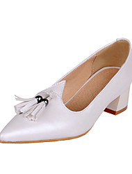 Women's Shoes Leatherette Chunky Heel Heels / Basic Pump / Pointed Toe Heels Office & Career / Dress /  Pink / White