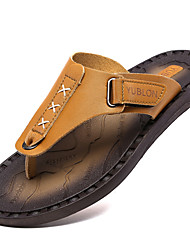Men's Shoes Nappa Leather Athletic/Casual Slippers & Flip-Flops Athletic / Casual Sports Sandals Flat Heel Brown
