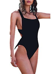 Womens High Cut Backless One Piece Swimsuit