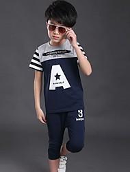 Boy's Sports Striped Clothing Set,Cotton Summer Black / Blue / Orange