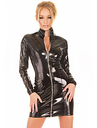 Women's Long Sleeve Zipper Shiny PVC Catsuit Slim Dress
