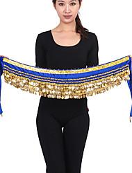 Dança do Ventre Lenços de Quadril para Dança do Ventre Mulheres Actuação Náilon Chinês Enfeites / Moedas de Ouro 1 PeçaPreto / Roxo