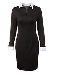 Women's Vintga Sexy Bodycon Casual Work Shirt Collar Dress , Knee-length Long Sleeve,Cotton