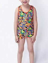 Boy's Beach Print Swimwear,Nylon Summer Orange / Yellow