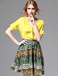 AFOLD® Damen V-Ausschnitt Kurze Ärmel Knielänge Kleid-5655