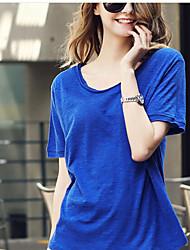 Damen Solide Einfach Lässig/Alltäglich T-shirt,Rundhalsausschnitt Sommer Kurzarm Blau / Rot / Weiß / Schwarz / Grau / GrünBaumwolle /
