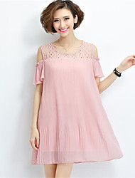 Women's Party/Cocktail Sexy Loose Dress,Solid Round Neck Above Knee Short Sleeve Pink / Black Cotton Summer