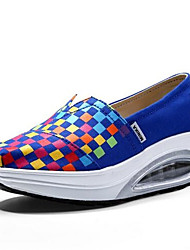 Damen-Flache Schuhe-Lässig-PU-Flacher Absatz-Komfort / Geschlossene Zehe-Blau / Grün / Weiß / Orange