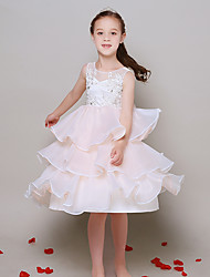 Ball Gown Knee-length Flower Girl Dress - Organza Scoop with Appliques