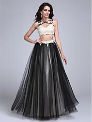 2017 prom vestido de noite formal, - duas peças uma linha bateau do assoalho-comprimento do laço / tule com apliques / beading