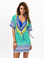 In Farbe Damen V-Ausschnitt Ärmellos Knielänge Kleid-533226899086