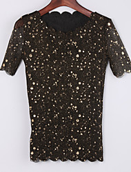 TS Round Neck Beaded Blouse,Nylon Short Sleeve