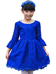 A-line Knee-length Flower Girl Dress - Lace 3/4 Length Sleeve Jewel with Lace