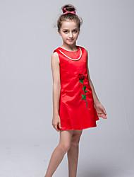 Vestido Chica de-Noche-Un Color-Poliéster-Verano-Rojo