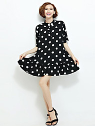 Mulheres Solto Vestido,Casual Vintage Poá Colarinho Chinês Acima do Joelho Meia Manga Preto Poliéster Verão