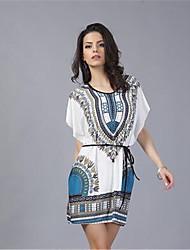 In Farbe Damen Rundhalsausschnitt 1/2 Ärmel Knielänge Kleid-44012051500