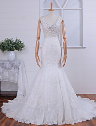 Trumpet / Mermaid Wedding Dress Court Train V-neck Tulle with Button / Pearl / Appliques / Beading