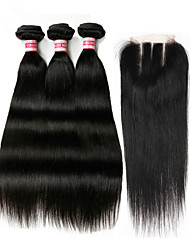 3 Bundles Indian Virgin Remy Hair Weft Silk Straight With 1Pcs Lace Closure Natural Color Hair Extensions