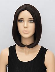perruques noires 35cm courtes sombres pour les femmes résistantes perruques de cheveux synthétiques de chaleur de la mode droite