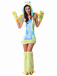 Cosplay Costumes Super Heroes / Power Rangers Movie Cosplay Cyan Patchwork Dress / Gloves / Leg Warmers / HatHalloween / Christmas / New