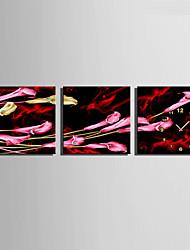 Модерн Цветы и растения Настенные часы,Квадратный Холст40 x 40cm(16inchx16inch)x3pcs/ 50 x 50cm(20inchx20inch)x3pcs/ 60 x