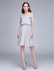 LAN TING BRIDE Knee-length Spaghetti Straps Bridesmaid Dress - Short Short Sleeve Chiffon