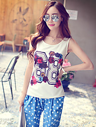 Pink Doll® Women's Print Brief Casual Round Neck Sleeveless T Shirt White-X15BTS056