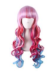 розовый красный цвет Ombre лолита Harajuku парик аниме косплей костюм партии женщин курчавая волна жаропрочные париков