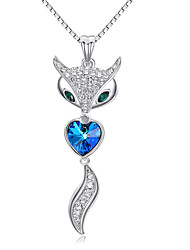 HKTC Gorgeous Green Eyes Fox Heart Shaped Sapphire Pendant Necklace Shining Crystal Cut 18K White Gold Plate Jewelry