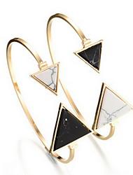 Alloy Natural Stone Gem Adjustable Cuff Bangle Bracelet