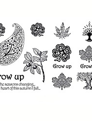 5PCS Fashion Leaf Body Art Waterproof Temporary Tattoos Sexy Tattoo Stickers (Size: 3.74'' by 5.71'')